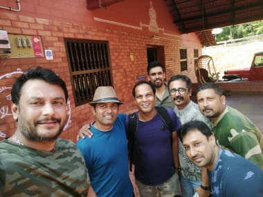 Sandalwood star, Darshan with friends and Vikram Udupa at Barekal